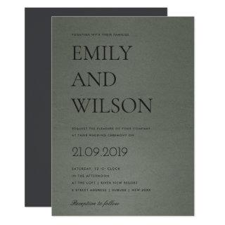 SIMPLE BOLD GREEN STONE GREY TYPOGRAPHY WEDDING INVITATION