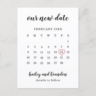Simple Calendar Red Heart Wedding Change the Date Announcement Postcard