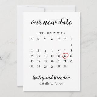 Simple Calendar Red Heart Wedding Postponement Announcement