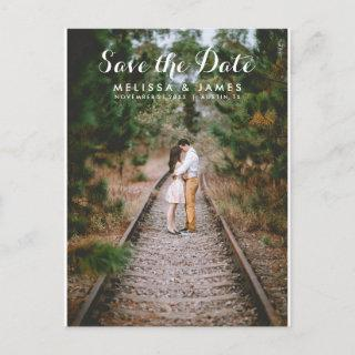 Simple Calligraphy Photo Wedding Save The Date Announcement Postcard