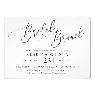 Simple Calligraphy Rustic Bridal Brunch Invitations