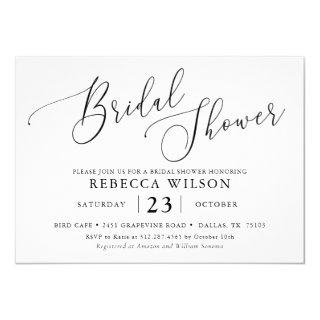 Simple Calligraphy Rustic Bridal Shower Invitations