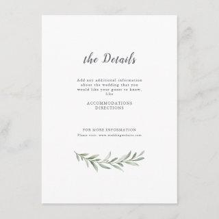 Simple calligraphy rustic greenery wedding enclosure card