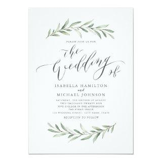 Simple calligraphy rustic greenery wedding Invitations