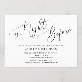 Simple Calligraphy Rustic Rehearsal Dinner Invitations
