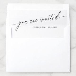 Simple Calligraphy Wedding You Are Invited Envelope Liner