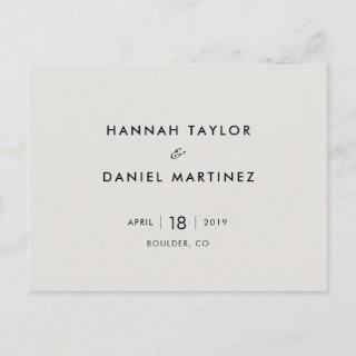 Simple Chic Minimalist Wedding Save the Date Announcement Postcard