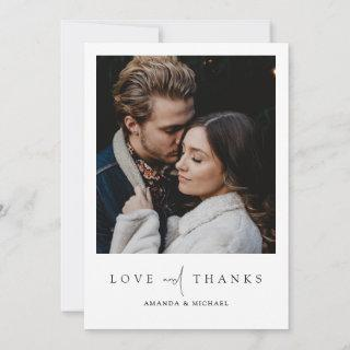 Simple Chic Modern Photo Love and Thanks Wedding Thank You Card