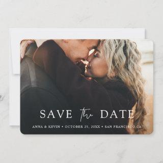 Simple Chic Script Modern Photo Wedding Save The Date
