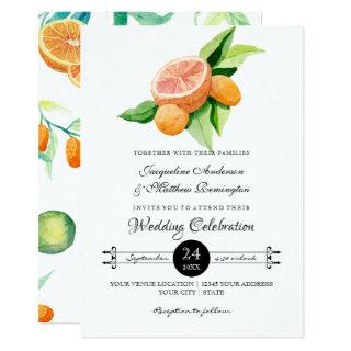Simple Citrus Kumquat Lemon Orange Typography Leaf Invitation