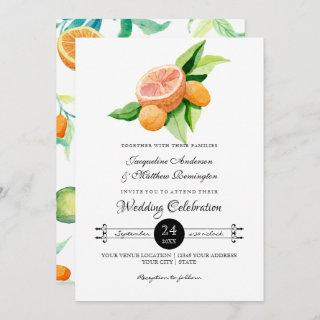 Simple Citrus Kumquat Lemon Orange Typography Leaf Invitations