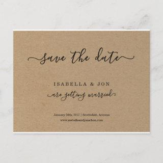 Simple Classic Save the Date Postcard Kraft Paper