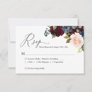 Simple Classy Burgundy Navy Blush Floral RSVP Card