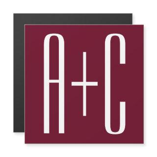 Simple Couples Initials   White & Burgundy Magnetic
