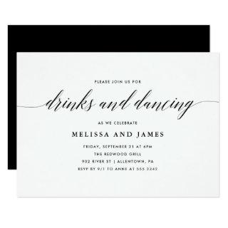 Simple Drinks and Dancing Wedding Invitations