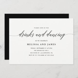 Simple Drinks and Dancing Wedding Invitation