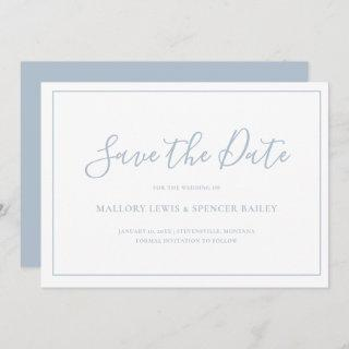 Simple Dusty Blue Formal Wedding Non Photo Save The Date