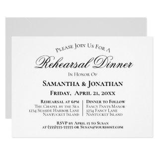 Simple Elegance Wedding Rehearsal Dinner Invitation