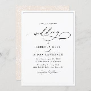 Simple Elegant Calligraphy Script Wedding Invitations
