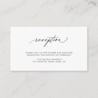 Simple Elegant Calligraphy Wedding Reception Enclosure Card