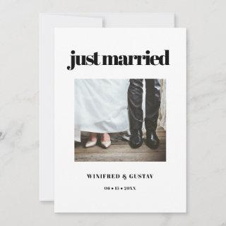 Simple elegant & chic Just married wedding photo Announcement