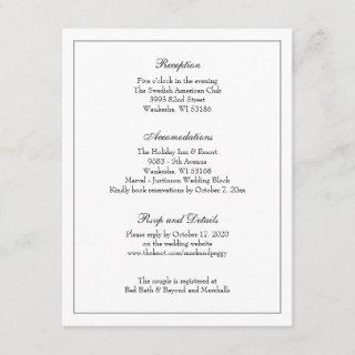Simple Elegant Classic Wedding Reception Enclosure Card