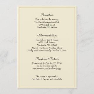 Simple Elegant Classic Wedding Reception Enclosure Invitations