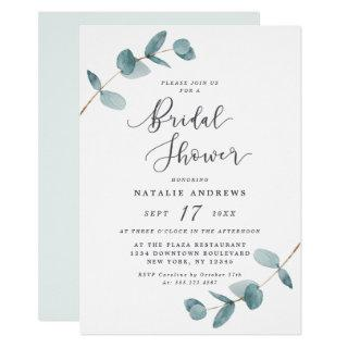 Simple Elegant Eucalyptus Frame Bridal Shower Invitations