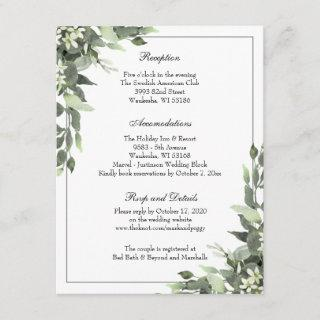 Simple Elegant Eucalyptus Wedding Reception Enclosure Card