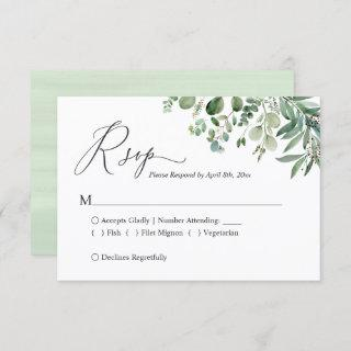 Simple Elegant Eucalyptus Wedding RSVP Card
