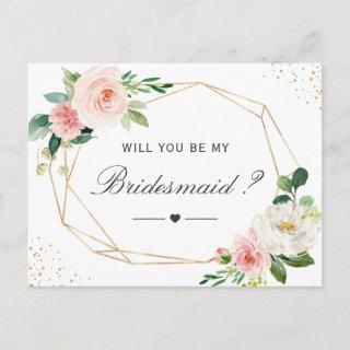 Simple Elegant Floral Be My Bridesmaid Proposal Invitation Postcard