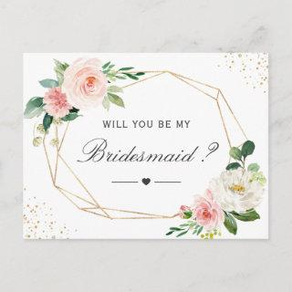 Simple Elegant Floral Be My Bridesmaid Proposal Invitations Postcard