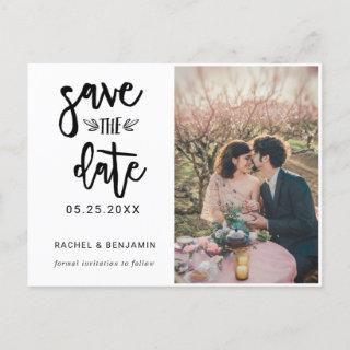 Simple Elegant Hand Lettering Calligraphy 1 Photo Announcement Postcard