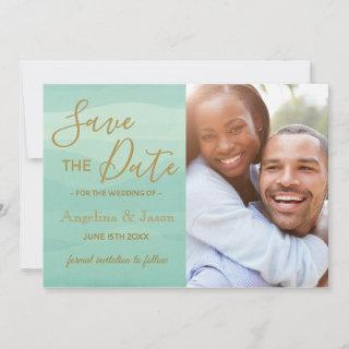 Simple Elegant Mint Green Waves Wedding Photo Save The Date