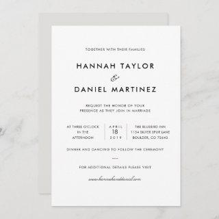 Simple Elegant Modern Custom Wedding Invitations