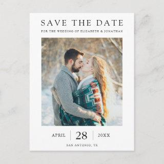 Simple Elegant Modern Photo Save the Date Invitations Postcard