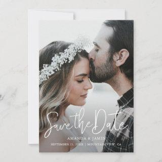 Simple Elegant Modern Script Photo Save the Date