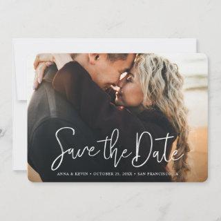 Simple Elegant Modern White Script Photo Wedding Save The Date