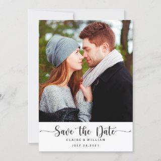 Simple Elegant Vertical Photo Save the Date Card