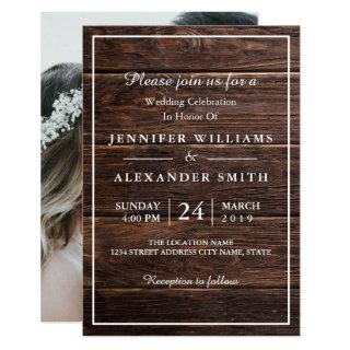 Simple Elegant Woodsy Photo Wedding Invitation