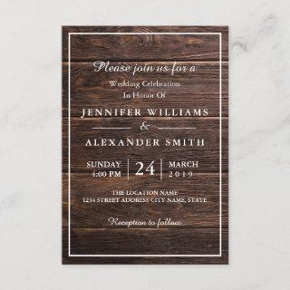 Simple Elegant Woodsy Wedding Invitation
