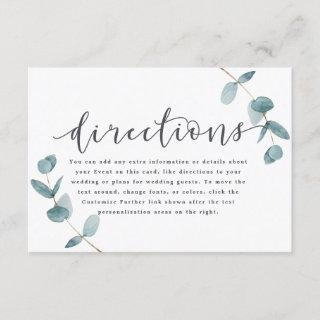 Simple Eucalyptus Calligraphy Wedding Directions Enclosure Card