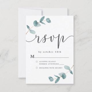 Simple Eucalyptus Frame with Calligraphy Wedding RSVP Card