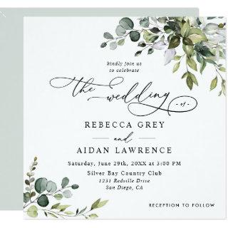Simple Eucalyptus Greenery Wedding Square Invitations