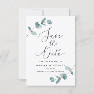 Simple Eucalyptus Leaves & Calligraphy Wedding Save The Date