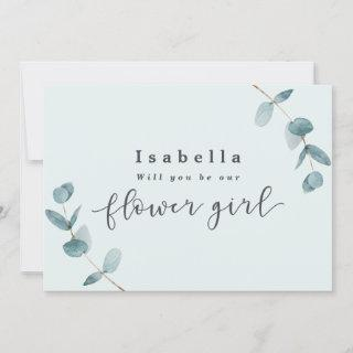 Simple Eucalyptus Leaves Flower Girl Proposal Card