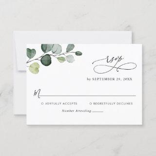 Simple Eucalyptus Leaves Greenery Wedding RSVP Card