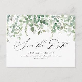 Simple Eucalyptus Modern Calligraphy Save The Date Announcement Postcard