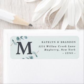 Simple Eucalyptus Rustic Monogram Return Address Label