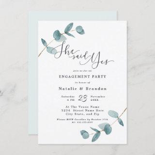 Simple Eucalyptus She Said Yes Engagement Party
